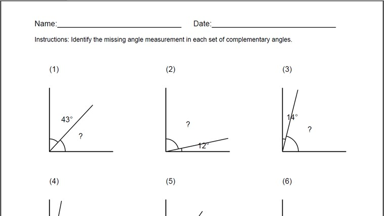 Printables Complementary Supplementary Angles Worksheet supplementary complementary angles worksheet davezan and worksheets davezan