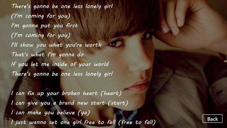 English songs lyrics justin bieber